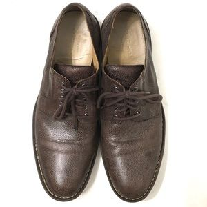 Cole Haan Mens Brown Pebbled Oxford Shoes